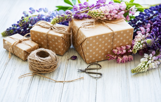 Lupine flowers and gift boxes