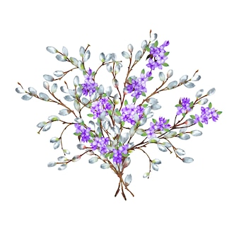Lush beautiful bouquet of willow and lilac branches. watercolor illustration.
