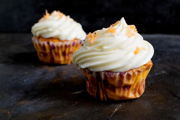Lush homemade carrot cupcakes.