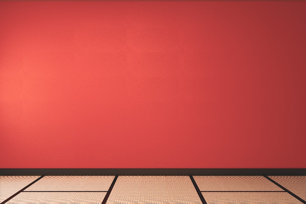 Lush lava empty room with decoraion and tatami mat floor.3d rendering