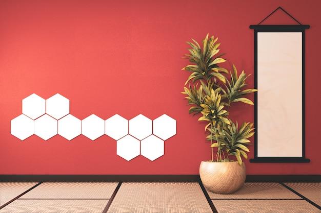 壁の装飾と畳の床に六角形の光と緑豊かな溶岩の空の部屋。3dレンダリング