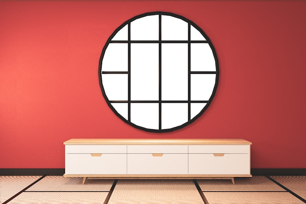 Lush lava empty room with wooden cabinet tv decoraion and tatami mat floor.3d rendering