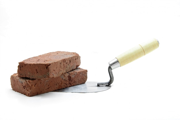 Lute trowel with red brick
