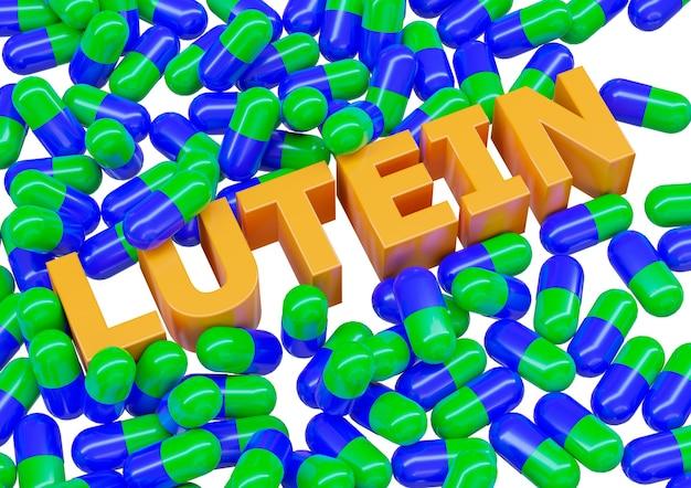 Лютеин, пищевая добавка в капсулах, изолированных на белой поверхности.