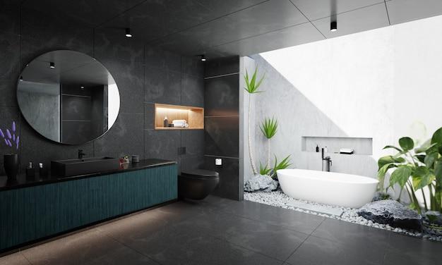黒い大理石と白いセメントを使った豪華なスタイルのバスルームインテリア。 3dレンダリング