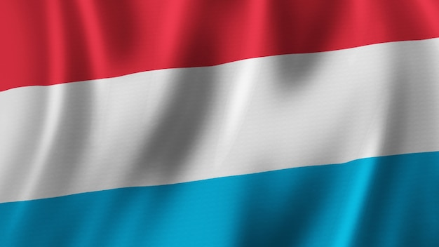 패브릭 질감으로 고품질 이미지로 근접 촬영 3d 렌더링을 흔들며 룩셈부르크 국기