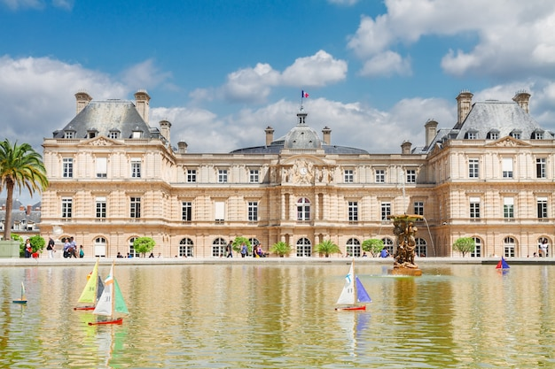 Luxembourg garden and large pond with boats, paris, france
