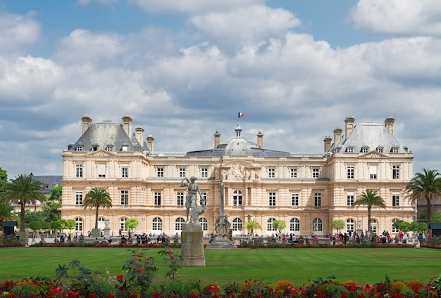 Luxembourg garden with green lawn at summer day, paris, france