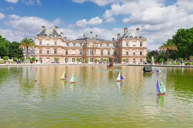 Luxembourg garden with large pond and boats, paris, france