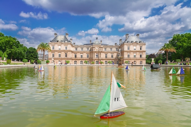 Luxembourg garden with large pond, paris, france