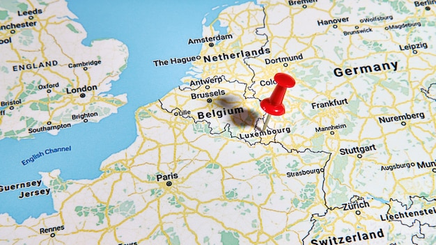 Luxembourg on a map showing a colored pin