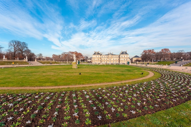 Luxembourg palace in jardin du luxembourg, park in paris.