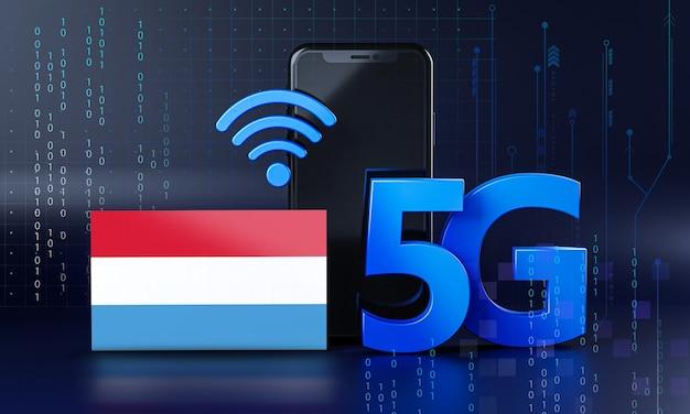 ルクセンブルクは5g接続コンセプトの準備ができています。 3dレンダリングスマートフォン技術の背景