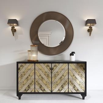 Роскошный комод в стиле ар-деко с позолоченным фасадом и патиной. круглое зеркало на груди и бра. 3d-рендеринг.