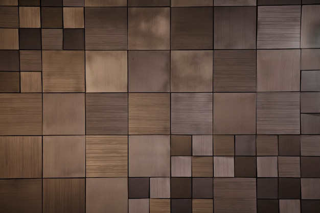 Luxurious background of an unusual wooden wall. many square shapes of various sizes are connected together like mosaic. concept of stylish interior design, website. copy space