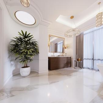Роскошная ванная комната с туалетным столиком и растением в мраморном горшке. 3d рендеринг