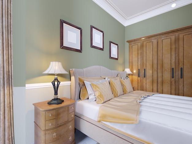 Роскошная кровать в интерьере современной спальни в классическом стиле. прикроватные тумбочки с настольными лампами и картинами над изголовьем. 3d рендеринг