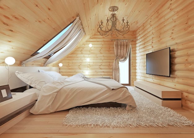 Luxurious bedroom in modern style, with a roof window in the log house