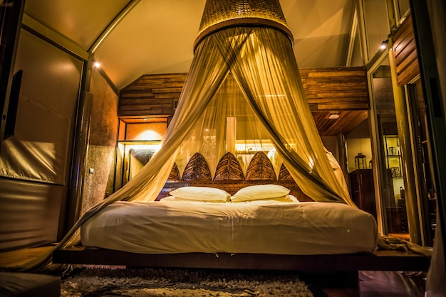 Luxurious bedroom suitable for relaxation.