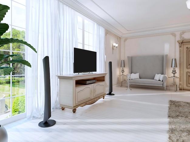 Роскошная спальня с большим диваном и телевизором, большое окно. 3d визуализация.