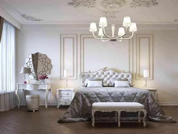 침대와 침대 옆 탁자와 화장대가 있는 고급스러운 침실. 컨셉 인테리어, 집, 편안함, 호텔. 3d 렌더링