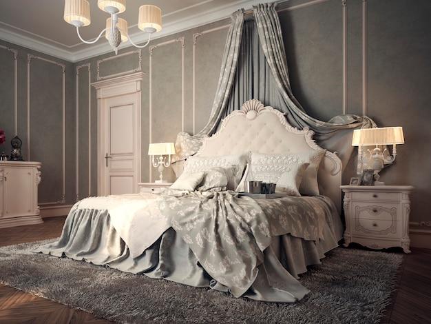 Роскошная спальня с кроватью, прикроватными тумбочками и туалетным столиком.