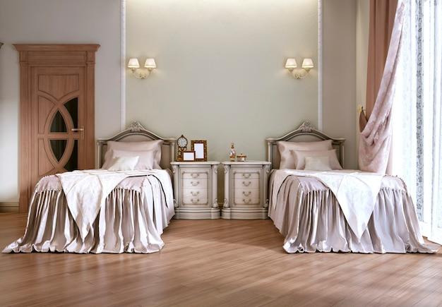 クラシックなスタイルのシングルベッド2台を備えた豪華なベッドルーム。本棚、テレビ、化粧台付き。 3dレンダリング。