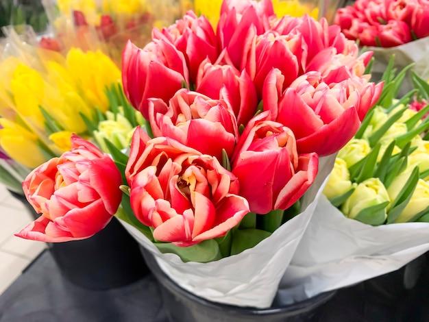 マルチカラーのチューリップの豪華な花束