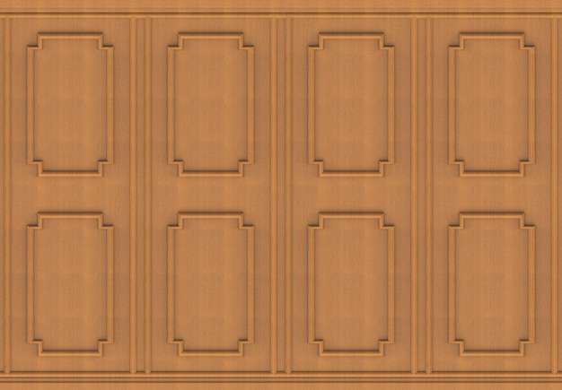 Luxurious brown wood square shape pattern panel vintage design wall background.