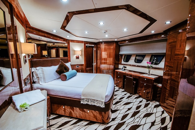 Luxurious cabin bedroom on a cruise ship, yacht