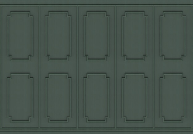 Luxurious dark green wood square shape pattern panel wall background.
