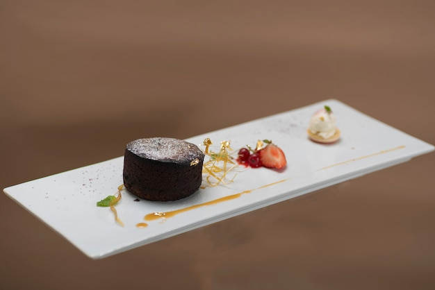 Luxurious dessert with brownie