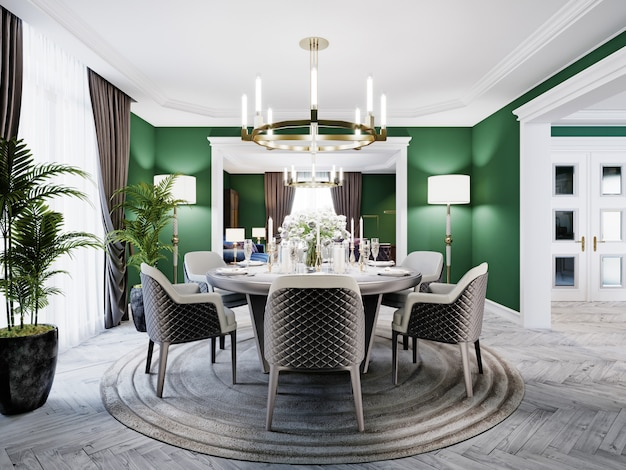 Luxurious dining room in a large house, with a round table for six people. leather chairs, marble countertops, tv unit, sideboard, green walls. 3d rendering.