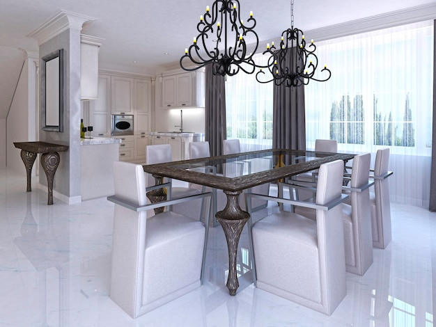 Luxurious dining room with dining table and designer chairs. wooden table and glass countertop and two classic chandeliers over the table. 3d render.