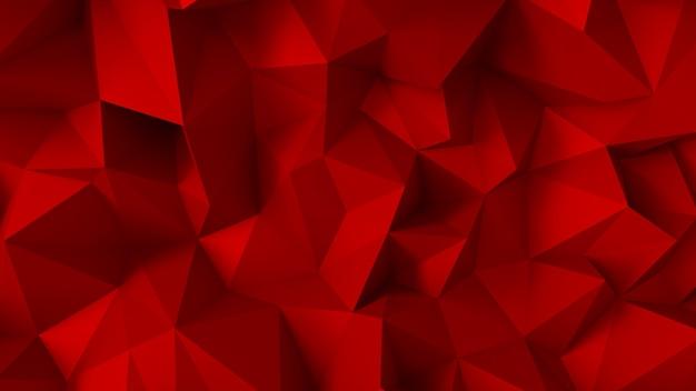 삼각형과 결정으로 고급스러운 우아한 빨간색 배경. 3d 렌더링.