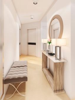 Роскошная прихожая в современном стиле со столиком для ключей и зеркалом. 3d рендеринг
