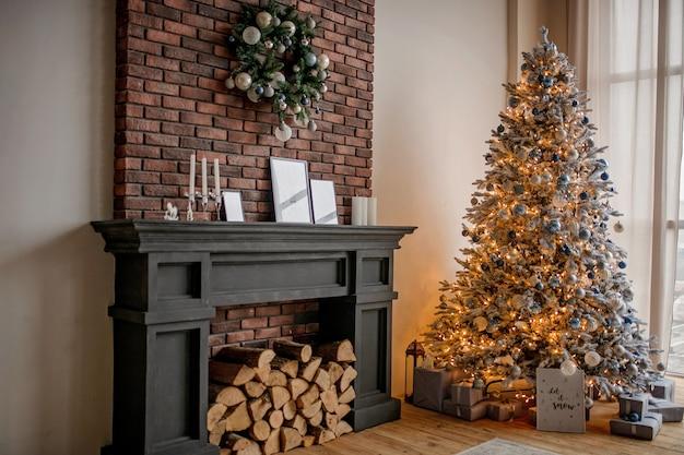 Luxurious festive decor of a christmas tree