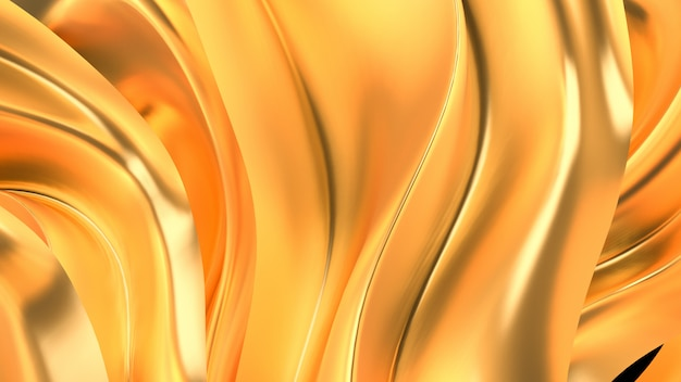 サテンのカーテンと豪華な金色の背景。 3dレンダリング。