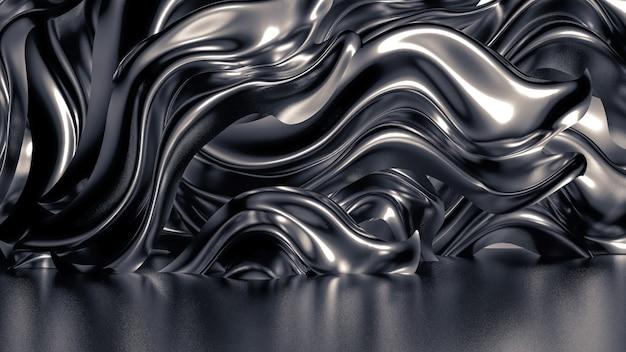 Роскошный серый фон со складками, драпировками и завитками. 3d иллюстрации, 3d рендеринг.