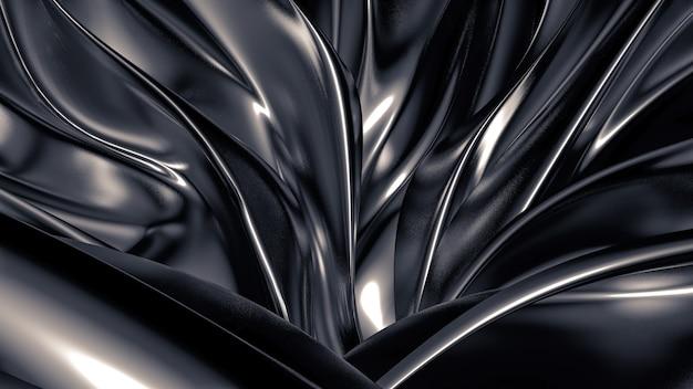 プリーツ、ドレープ、渦巻きのある豪華な灰色の背景。 3dイラスト、3dレンダリング。