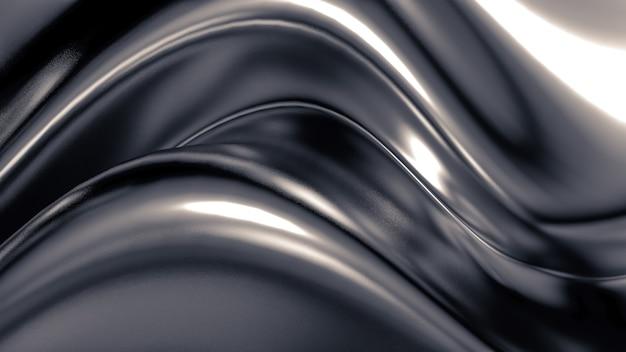 Роскошный серый фон со складками, драпировками и завитками, 3d визуализация
