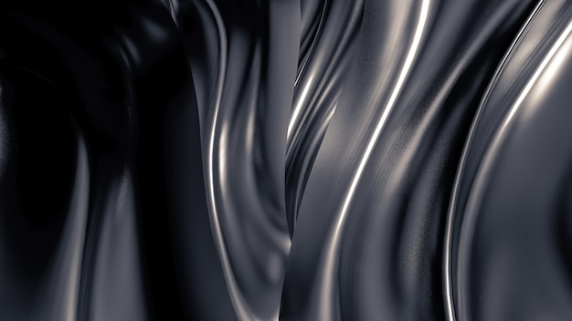 Luxurious grey background with pleats, drapes and swirls. 3d illustration, 3d rendering.