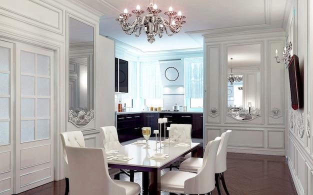 고전적인 스타일의 식사 공간이있는 고급스러운 주방