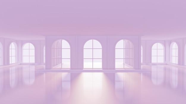 Роскошный светло-фиолетовый пустой салон. 3d-рендеринг.