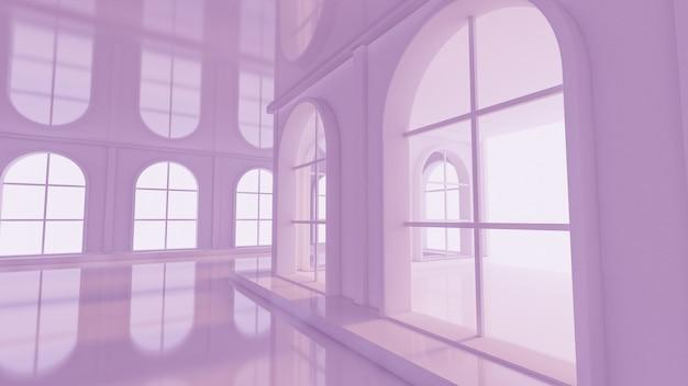 豪華な薄紫の空のインテリア。 3dレンダリング。