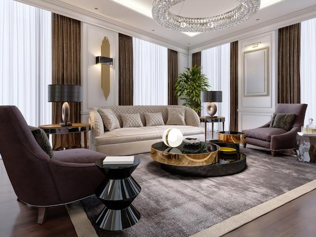 Роскошная гостиная в современном стиле с диваном, креслом, дизайнерской мебелью, тумбой под телевизор, большим декоративным подсвечником, круглой хрустальной люстрой. 3d-рендеринг.