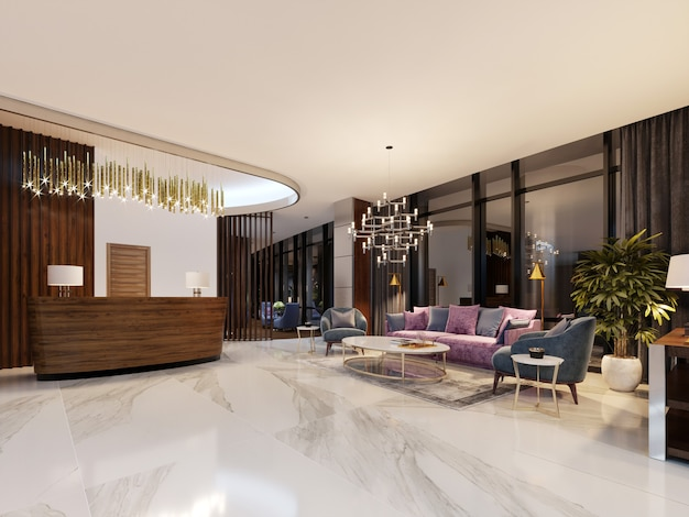 Luxurious lobby in a modern hotel with a comfortable sofa and designer armchairs. 3d rendering