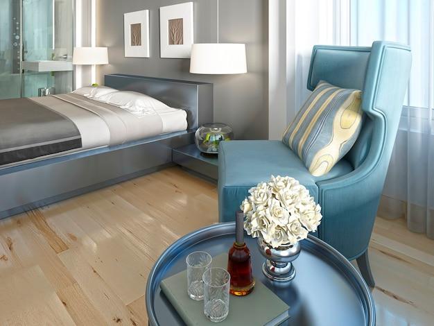 アールデコ調のテーブルを備えた豪華なラウンジチェアターコイズブルーのリビングルーム。 3dレンダリング