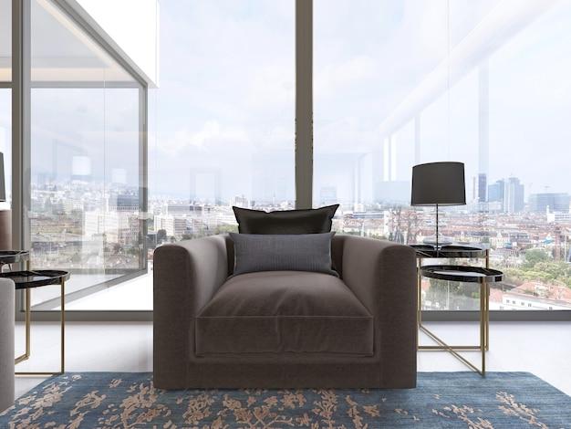 サイドテーブルとランプが付いた窓際の豪華でモダンな布張りのアームチェア。 3dレンダリング。