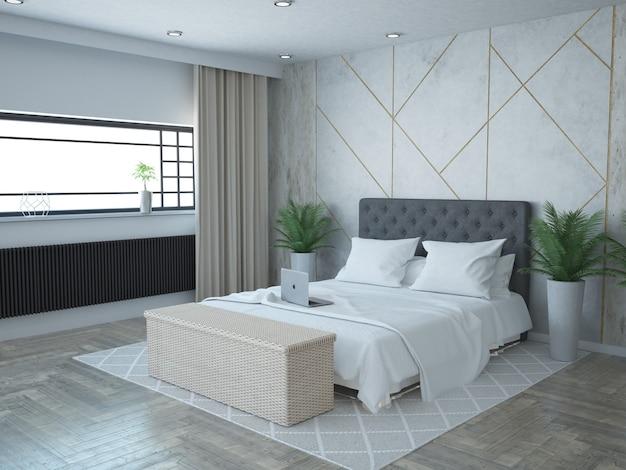 Роскошная современная спальня с бетонной стеной